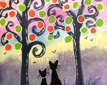 Original Art Black Cats & Whimsical Trees ACEO Painting