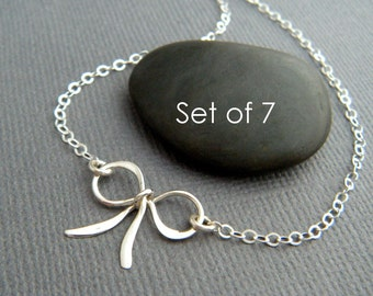 """Set of 7. small silver bow necklace. sterling silver bridesmaid gift petite small ribbon tiny forget me knot tie wedding bridal jewelry 5/8"""""""