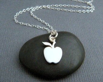 tiny sterling silver apple necklace. small teacher gift. fruit charm. simple jewelry delicate petite pendant dainty. gift for her