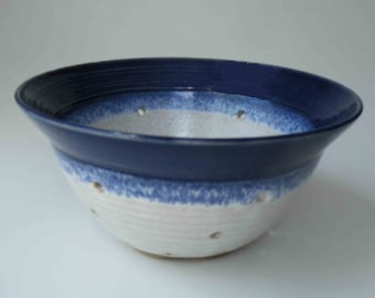 For the Kitchen, Blue and White Ceramic Colander, Cobalt Blue and White, Wedding Shower, Large Kitchen Berry Bowl