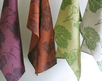 vineyard botanical grapevine hand block printed linen tea towels kitchen decor