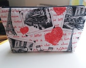 Zipper Pouch Cosmetic Bag, Paris and Valentine Print, Travel Makeup Bag, Toiletry Storage, Woman Gift, Handmade,Valentine