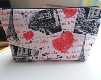 Zipper Pouch Cosmetic Bag, Paris Valentine Print,Travel Makeup Bag, Toiletry Storage, Gift for Her, Paris