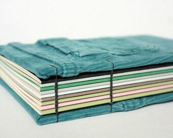 Recycled Teal Corduroys Journal, Notebook or Sketchbook