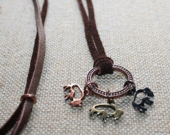 Buffalo Necklace, Buffalo Charm Necklace, Buffalo andLeather Necklace, Copper Necklace, Copper Buffalo, Leather Necklace, Adjustable