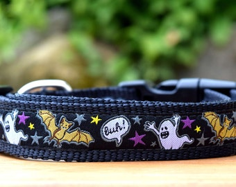 "Halloween Dog Collar / Black 3/4"" or 1"" wide Collar for Dogs / Made in Australia / XS, Small, Medium, Large or XL pet collar"