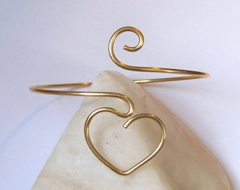 THICK SMOOTH Armlet -  Arm Band - Small Heart Armband - Upper Arm Bracelet - Upper Arm Jewelry - in Brass - Bronze - Copper - German Silver