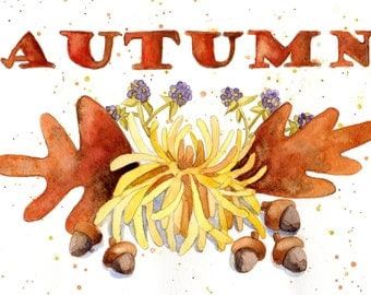Autumn print, fall leaves and acorns