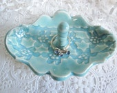 Porcelain mint green jewelry tray, Ring holder, home decor, kitchen storage