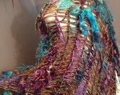 Tribal Boho poncho 'Orchard' Fringed Poncho - Multitextural Fringed Aqua purple with tans, copper, shawl, blanket poncho