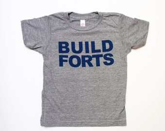 unisex kids graphic tee's - BUILD FORTS - boys clothing - girls tops - handprinted t shirt - blue and grey - toddler boy - toddler girl