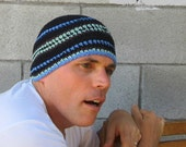 men's summer beanie/ black mint stripe cotton linen crochet