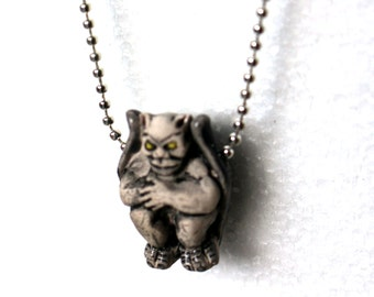 Gargoyle necklace -Hand painted ceramic-Ball chain necklace-Weird Christmas gift-Free gift box