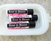 Rose flavored Lip Balm, creamy handmade moisturizing lip balm, dry lip care, shea butter and beewax formula, Rose in Bloom flavor