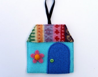 Rescued Wool Ornaments - Winter Cottage Series - Limited Edition