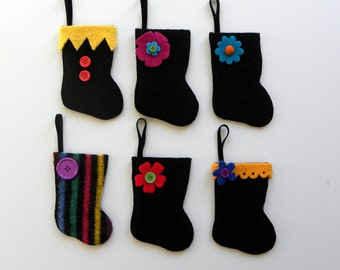 Rescued Wool Stocking Ornaments - Set of 6 - Recycled Christmas Ornament - Mini Stocking