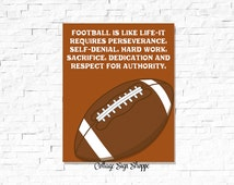 Football Is Like Life, Vince Lombardi Quotes, Football Gifts For Guys, Sports Wall Poster, Football Sign, INSTANT DOWNLOAD, Football Posters