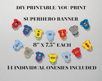SALE, Superhero Bunting Banner, Superhero 1st Birthday Banner,INSTANT DOWNLOAD,Superhero Baby Shower Banner,Superhero Party Banner,Superhero