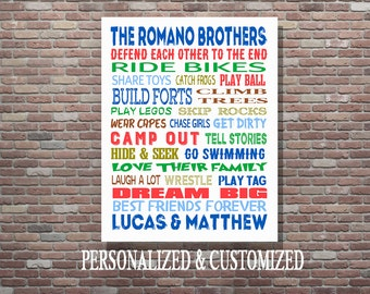 Brothers Wall Art, Boys Room Decor, Brothers Sign, Brothers Room Decor, Custom Brothers Art, Personalized Brothers Art, Digital Download Art