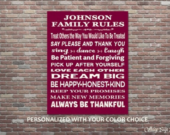Family Rules, Family Rules Wall Art, Custom Family Rules, Personalized with Color Choice, YOU PRINT,Personalized Family Rules,Custom Gifts,
