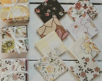 8 Vintage Fabric Bundles - Collection of 8 fabrics for Autumn, Fall, Halloween, Thanksgiving Craft Projects