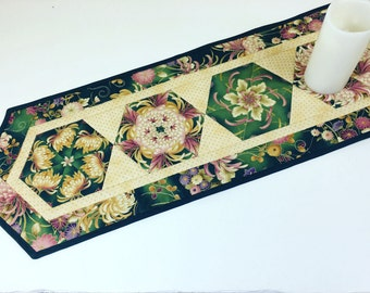 Floral Quilted Table Runner in Green Rose Pink and Gold, Stunning Asian Style Stack and Whack Quilt, Quiltsy Handmade