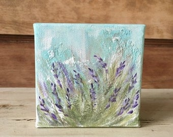Mini Fields of Lavender Painting no.2, textured, 4x4 original acrylic on canvas