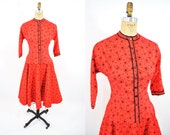 1950s set vintage 50s red heart folk novelty print top circle skirt XS/S