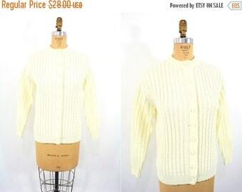 SUMMERS END SALE // 1960s cardigan vintage 60s cream Kimlon cable knit sweater M/L