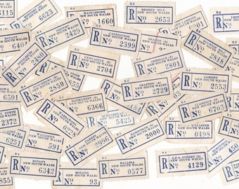 10 x Vintage Australian (NSW)  Registered Mail Postage Labels for Crafting or Collecting
