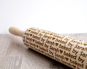 Personalized embossing rolling pin, baked by Design, Custom wooden rolling pin, Cookies decorating roller, Laser engraved rolling pin