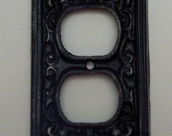 Fleur de lis Cast Iron Plug Plate Cover FDL Single Wall Shabby Style Chic Distressed Rustic French Decor FDL Classic Black