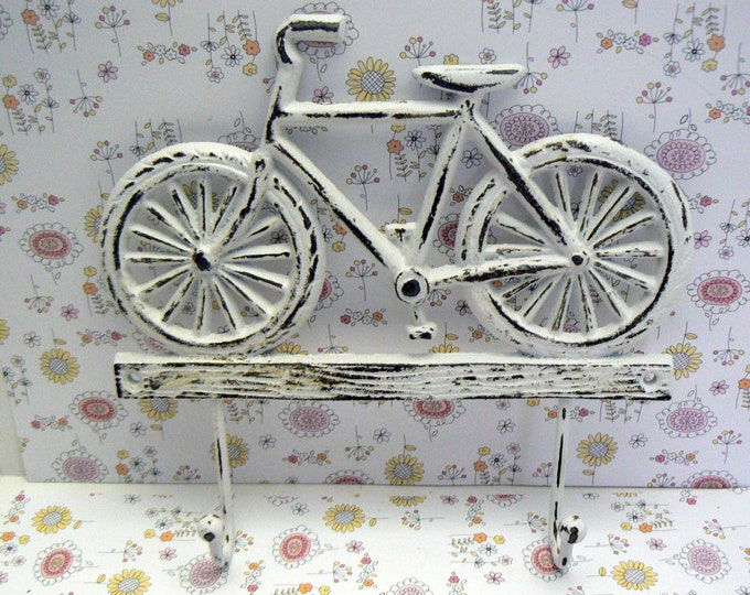 Bicycle Double Wall Hook Shabby Elegance Distressed White Cast Iron Wall Coat Leash Hat Towel Scarf Jewelry Keys 2 Hooks Home Decor