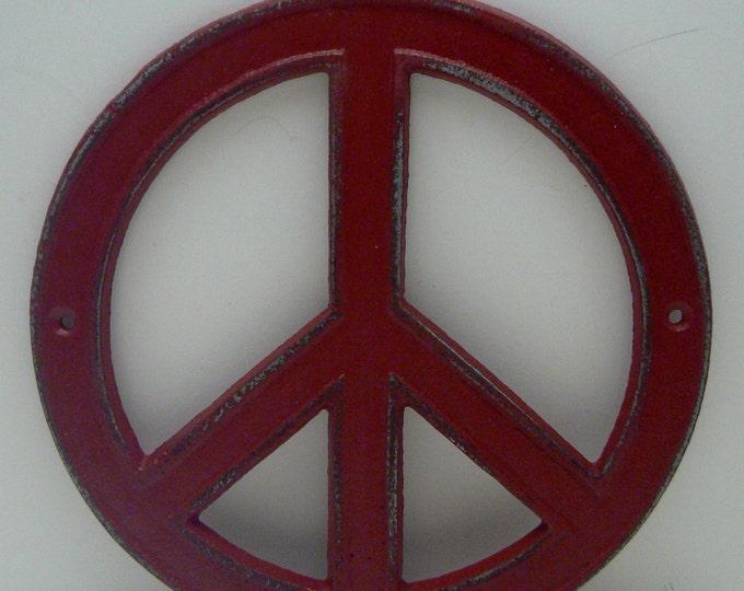 Peace Sign Cast Iron Red Wall Art Shabby Chic Retro 70's Home Decor