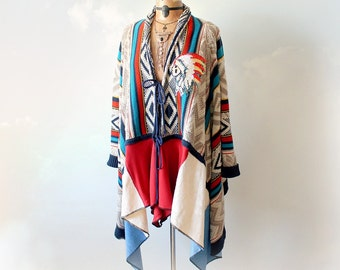 Southwestern Tribal Women's Blanket Coat Draped Sweater Bohemian Clothes Upcycle Fall Winter Wrap Sweater Colorful Cardigan S M 'CINNABAR'