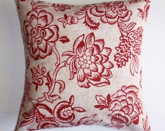 SUMMER SALE - Throw Pillow Cover, Red Floral Silhouette Cushion Cover, Handmade Floral Accent Pillow Cover, Bircham Red Throw Pillow Cover