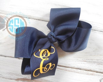 School Uniform Custom Boutique Monogrammed Three Initial Hair bow---Personalized---Navy Uniform Bow
