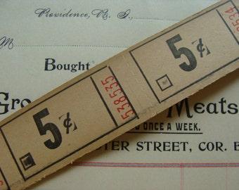 Antique 5 cent Tickets 1 Dozen Very Old Gorgeous Sand Color