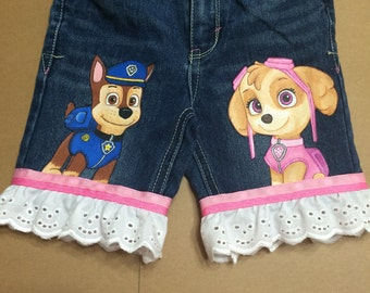Custom Painted Paw Patrol choice 2 character jean SHORTS with ruffle Sizes 6m to 24 mo, 2T to 10