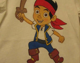 Custom Painted Disney Clothing  Jake Neverland Pirates  shirt sizes 6 months to 24m  to 2T/2 to 12 teen