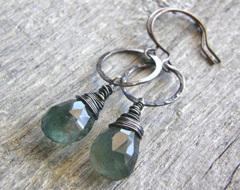 Moss Aquamarine and Hammered Sterling Silver Circle Earrings