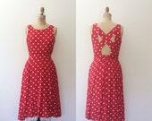 vintage rayon dress / polka dot dress / Cross Back dress