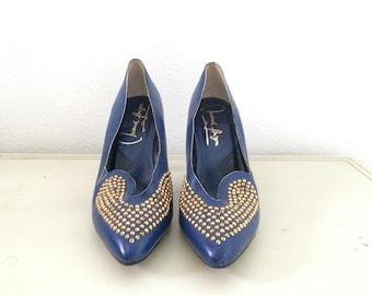 Maud Frizon heels / studded heels / Blue leather heels