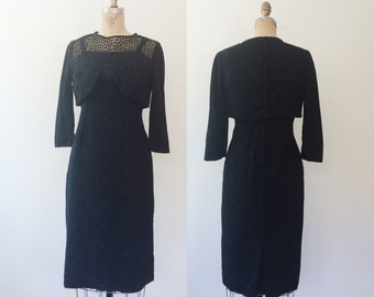 1960s dress / wool and lace dress / Autunno Garden dress