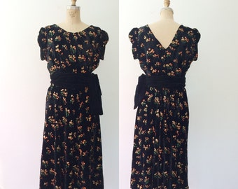 1950s dress / vintage velvet dress / velvet Cadwyn dress