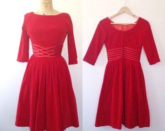 1950s red dress / vintage velvet dress / Ribbons at the Waist dress