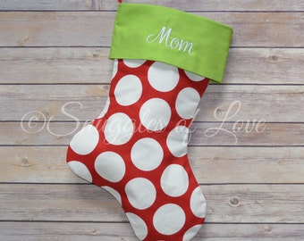 Red Polka Dot Christmas Stocking - Personalized Red Dot Stocking - Personalized Polka Dot Christmas Stocking, Embroidered Christmas Stocking