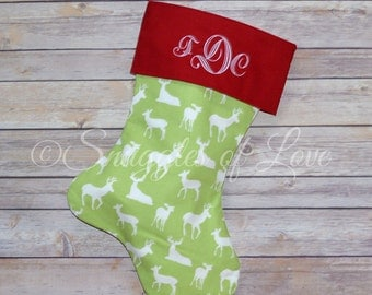 Green Deer Stocking - Personalized Deer Christmas Stocking - Red and Green Deer Stocking, MONOGRAMMED STOCKING, Hunting Buck Reindeer