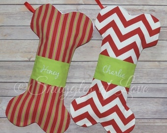 Dog Christmas Stockings - Personalized Dog Stockings, Embroidered Dog Christmas Stockings, Bone Shaped Stocking for Dogs, CUSTOM MADE