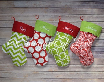 Red and Green Stockings, Personalized Red & Green Christmas Stockings, SET OF 4, Monogrammed Red Stockings, Monogrammed Green Stocking